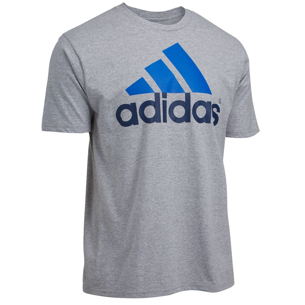 ADIDAS Men's Logo Tee - MEDIUM GREY HEATHER/