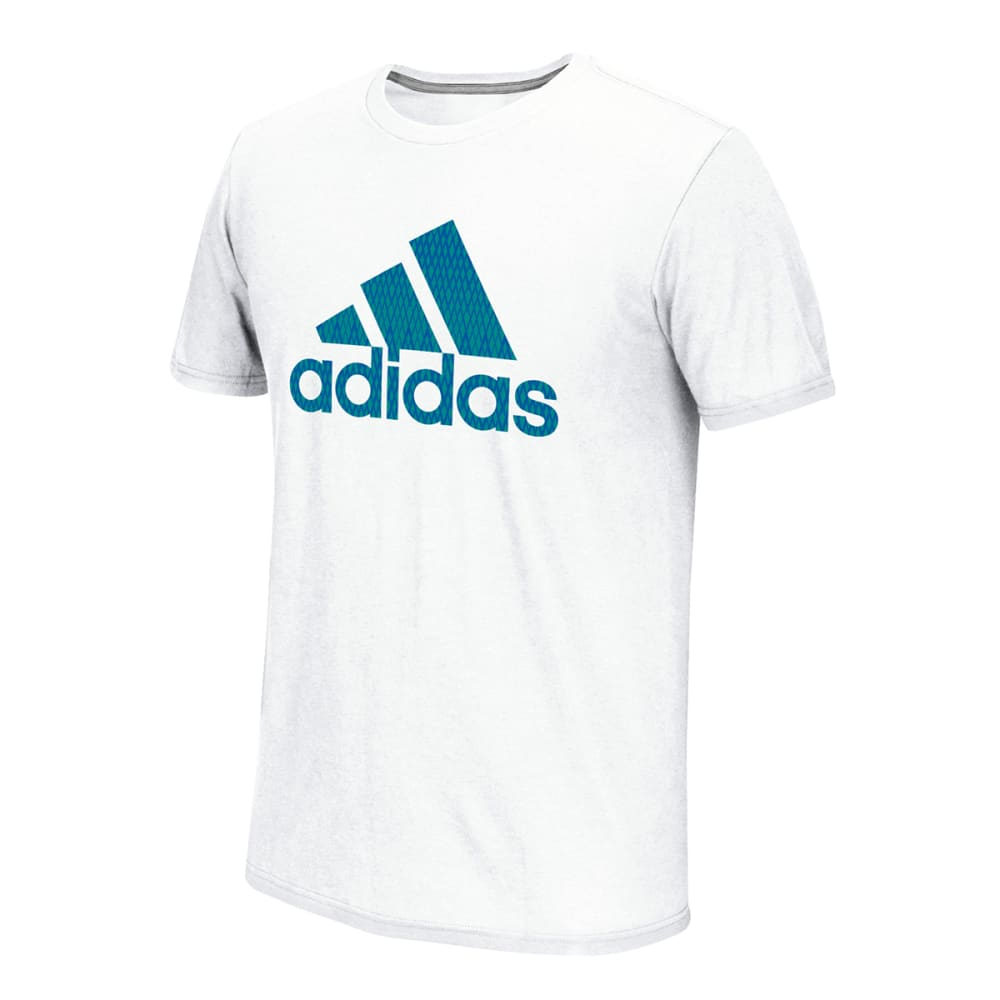 ADIDAS Men's Black Ice Pattern Tee - WHITE/BLUE/GRN-013