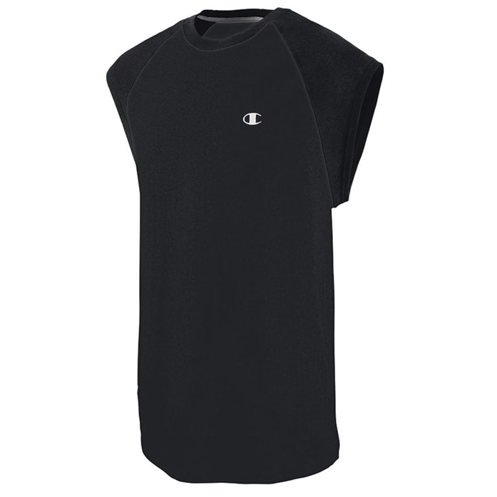 CHAMPION Men's Cotton Jersey Raglan Cap-Sleeve Men's T-Shirt - BLACK