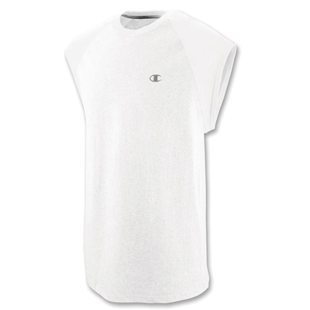 CHAMPION Men's Cotton Jersey Raglan Cap-Sleeve Men's T-Shirt - WHITE