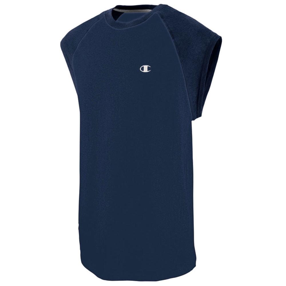 CHAMPION Men's Cotton Jersey Raglan Cap-Sleeve Men's T-Shirt - NAVY