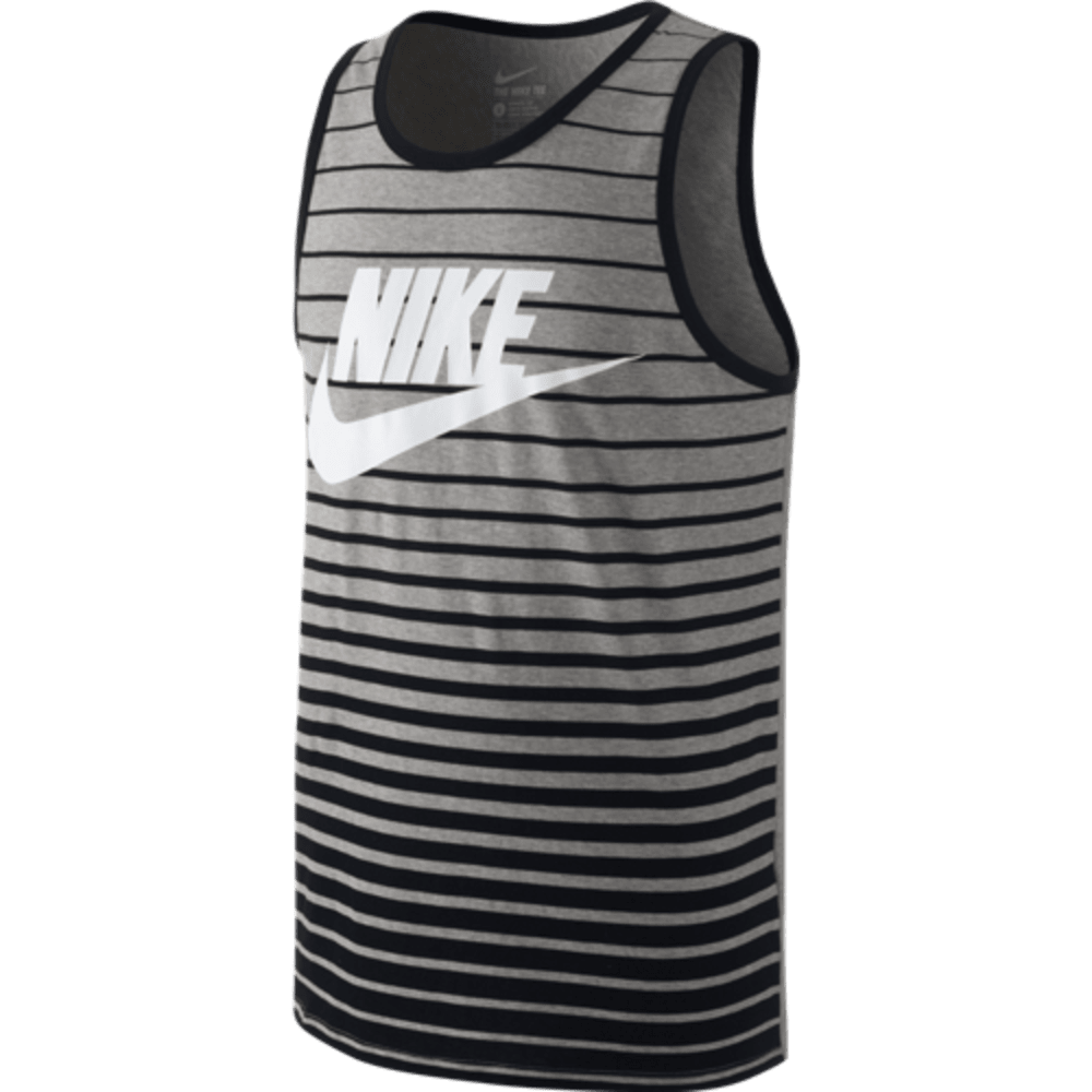 NIKE Men's Logo Striped Futura Tank - DARK GREY HEATHER/BL