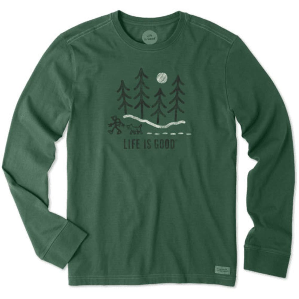 LIFE IS GOOD Men's Long Sleeve Moonlight Woods Shirt - HUNTER GREEN