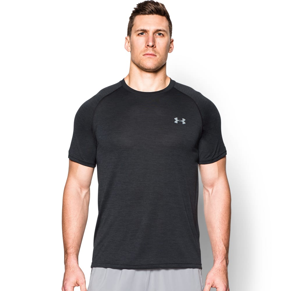 UNDER ARMOUR Men's Short-Sleeve Tech Tee - BLACK/STEEL-014