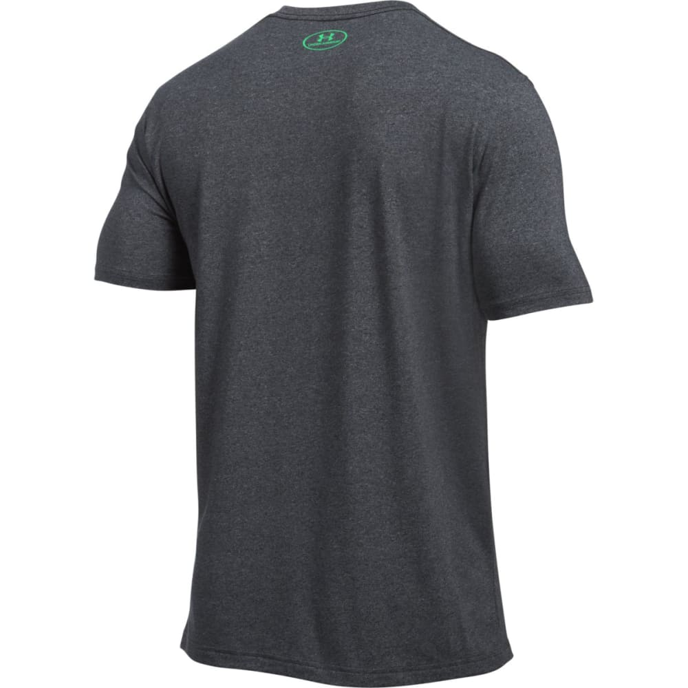 UNDER ARMOUR Men's Charged Cotton Tee - BLACK/VAPOR GRN-007