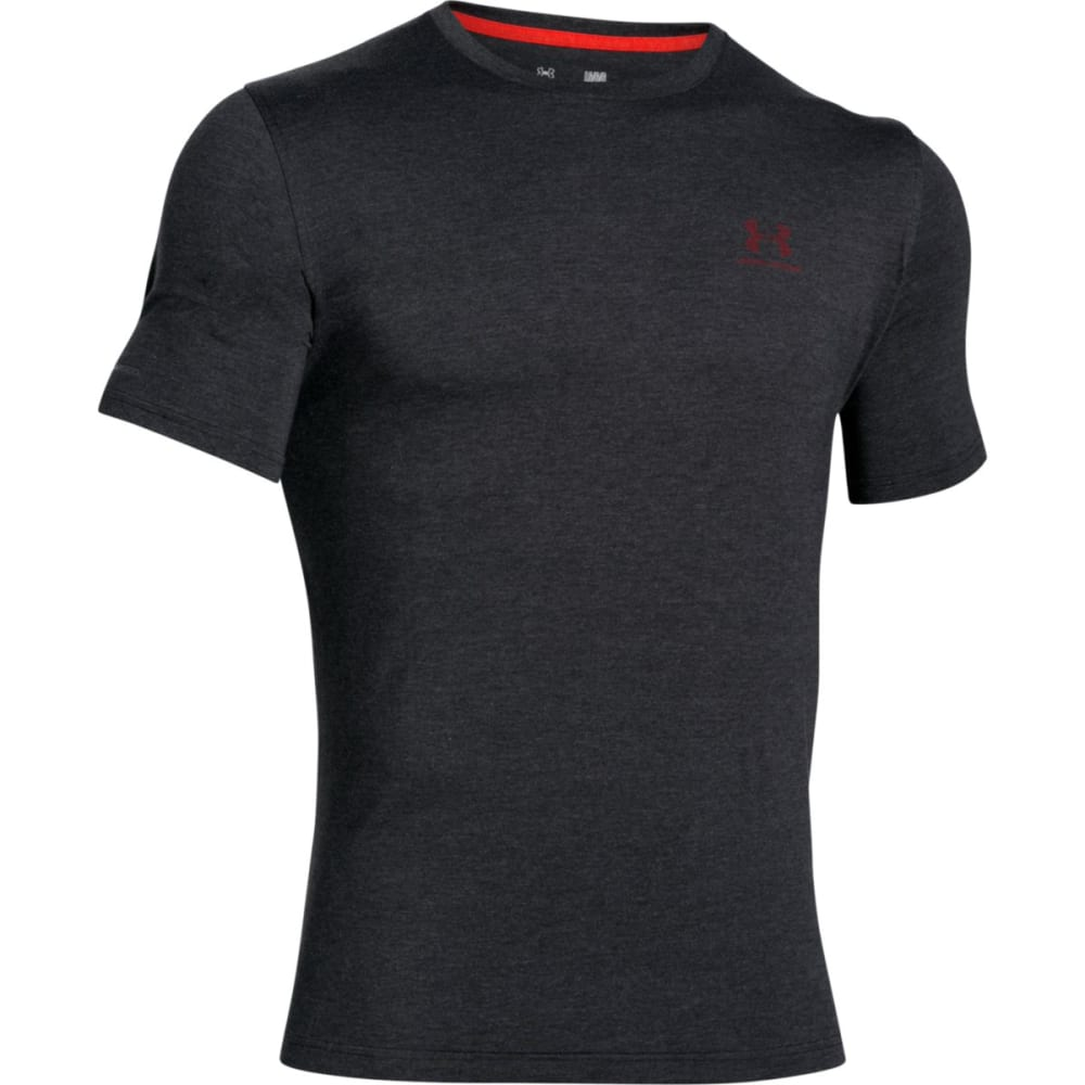 UNDER ARMOUR Men's Charged Cotton Tee - BLACK/RED-004