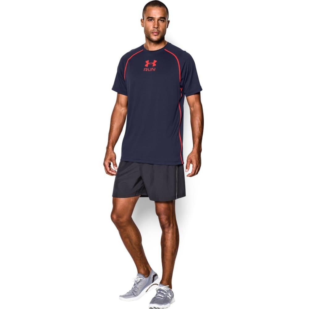 UNDER ARMOUR Men's Tech Run Short Sleeve Tee - NAVY
