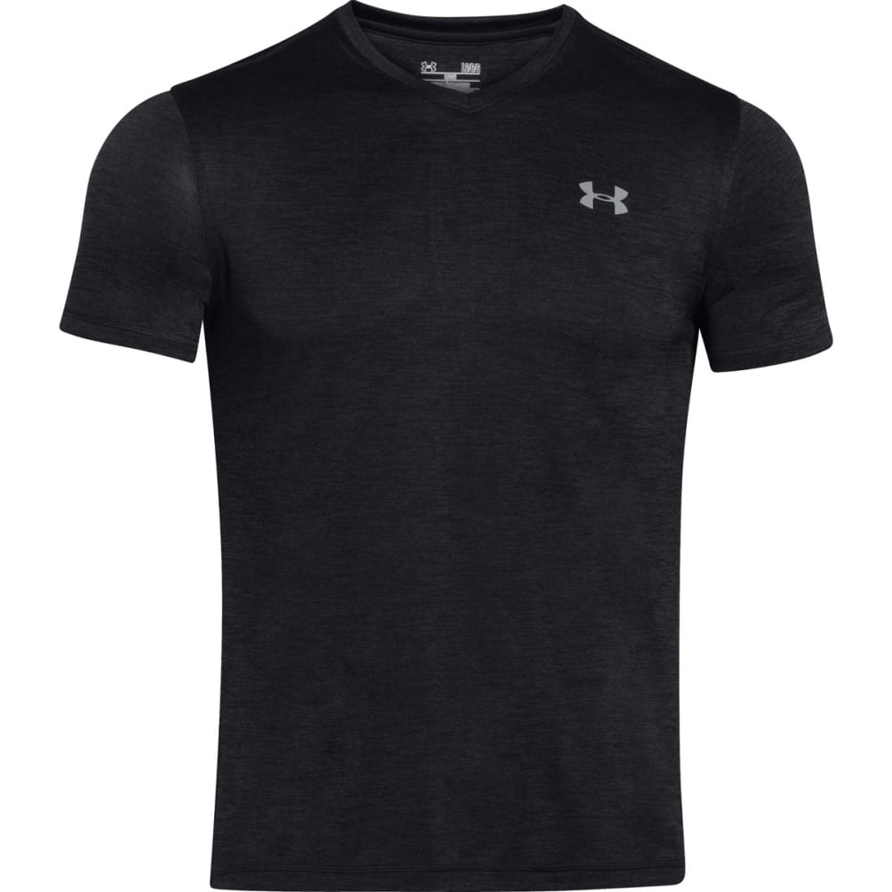 UNDER ARMOUR Men's V-Neck Tech Tee - BLACK/STEEL-001