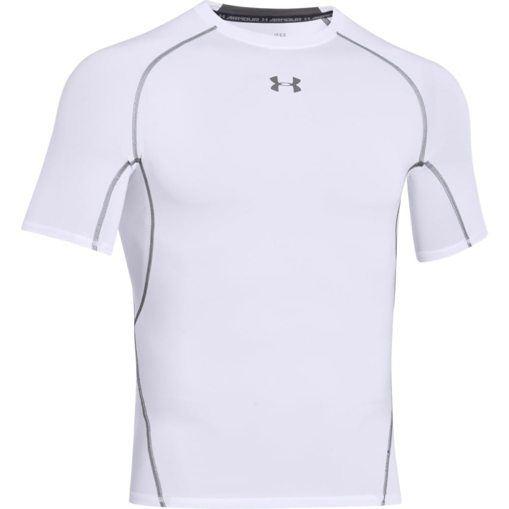 UNDER ARMOUR Men's HeatGear® Armour Short Sleeve Shirt - WHITE-100