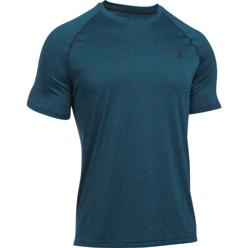 UNDER ARMOUR Men's Short Sleeve Tech Tee - PEACOCK/BLACK-781