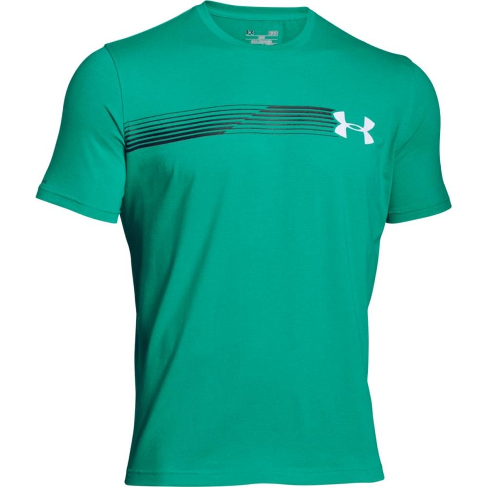UNDER ARMOUR Men's Short Sleeve Fast Logo T-Shirt - GREEN MALACHITE-349