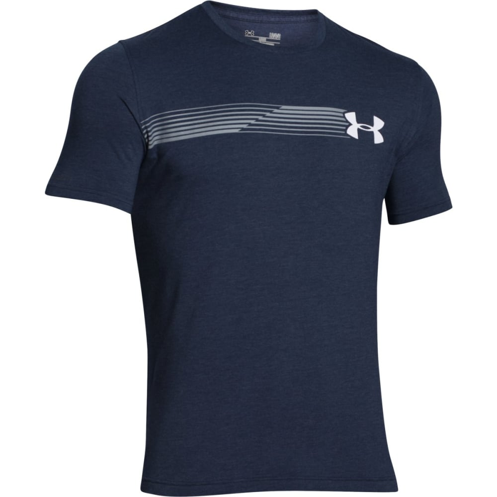 UNDER ARMOUR Men's Short Sleeve Fast Logo T-Shirt - MIDNIGHT/WHITE-410