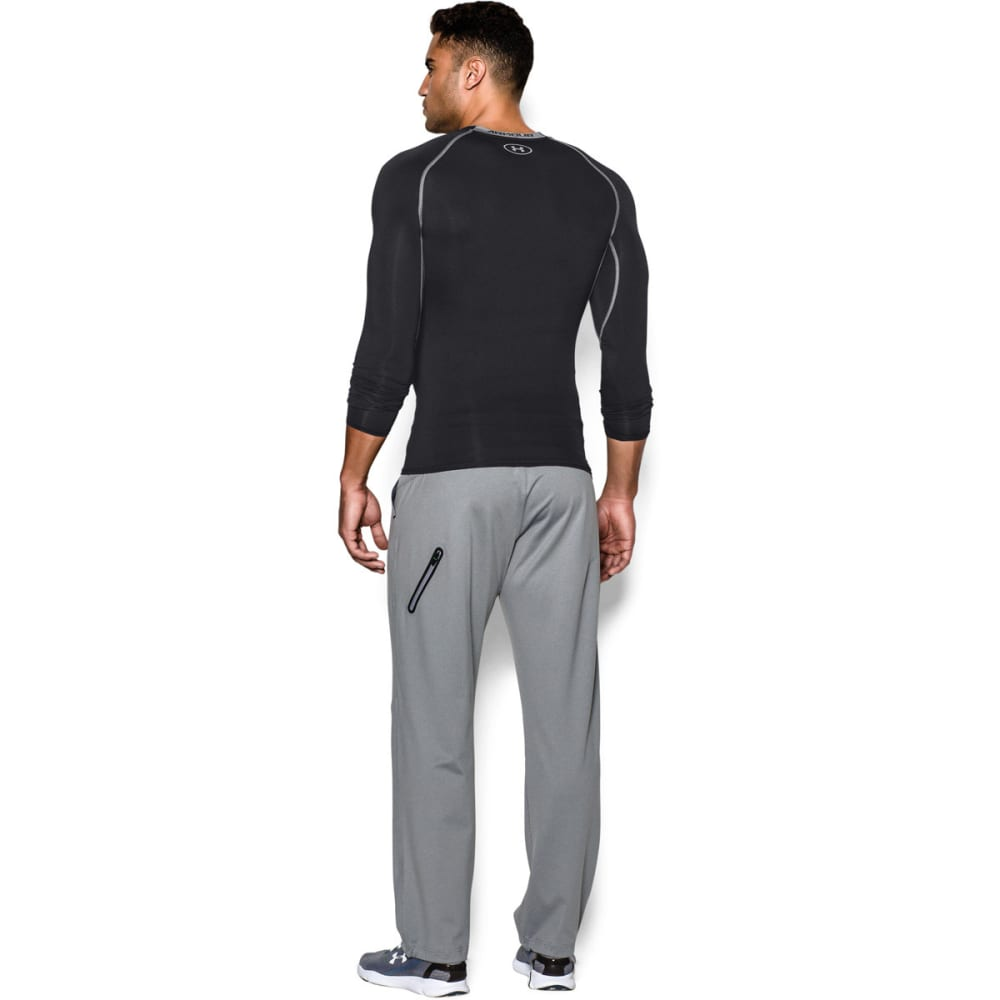 UNDER ARMOUR Men's HeatGear?? Armour Long Sleeve Shirt - BLACK/STEEL-001
