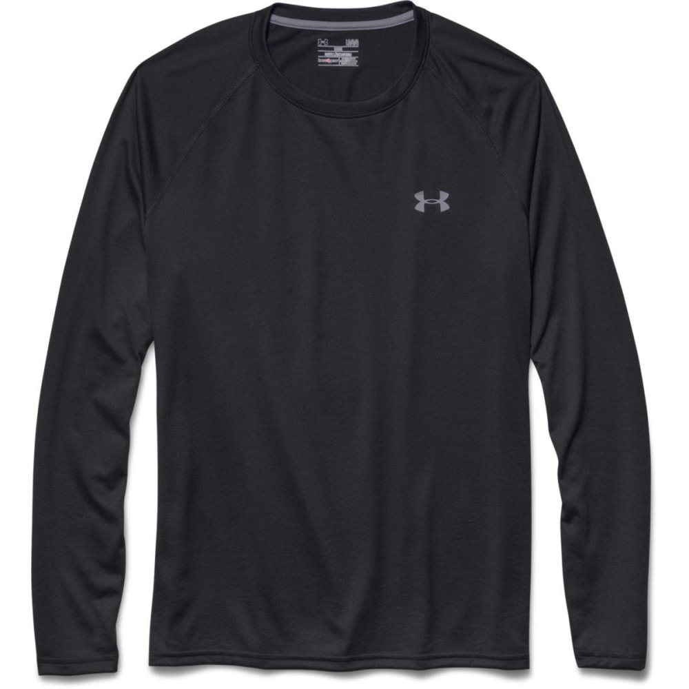 UNDER ARMOUR Men's UA Tech Long Sleeve Shirt - BLACK/STEEL-001