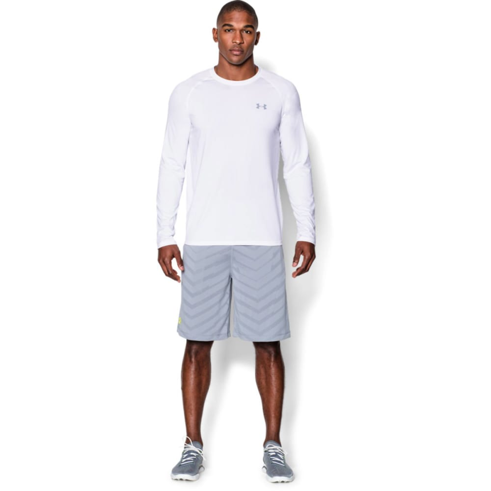 UNDER ARMOUR Men's UA Tech Long Sleeve Shirt - WHITE/STEEL-100
