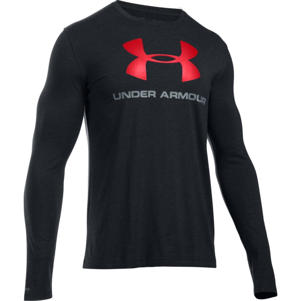 UNDER ARMOUR Men's UA Sport Style Long Sleeve T-Shirt - BLACK/STEEL/RED-001