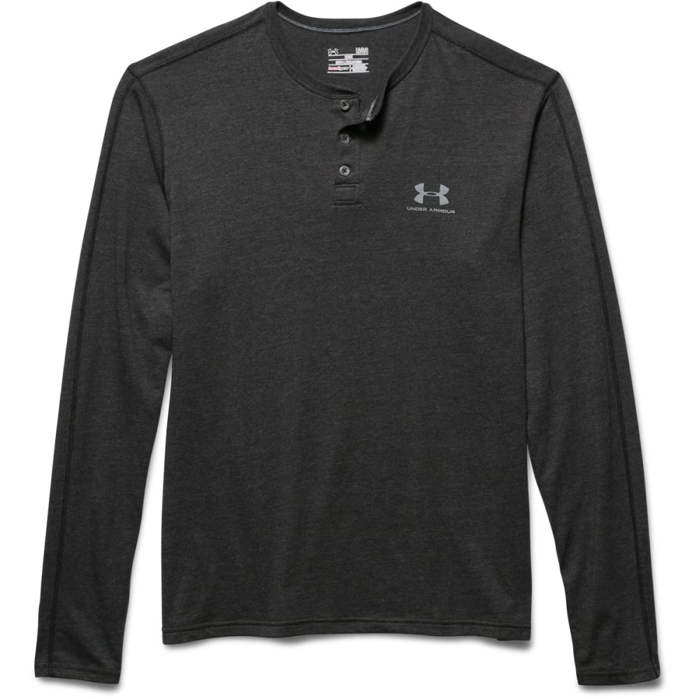 UNDER ARMOUR Men's Sportstyle Tri-Blend Henley - ASPHALT HEATHER-005