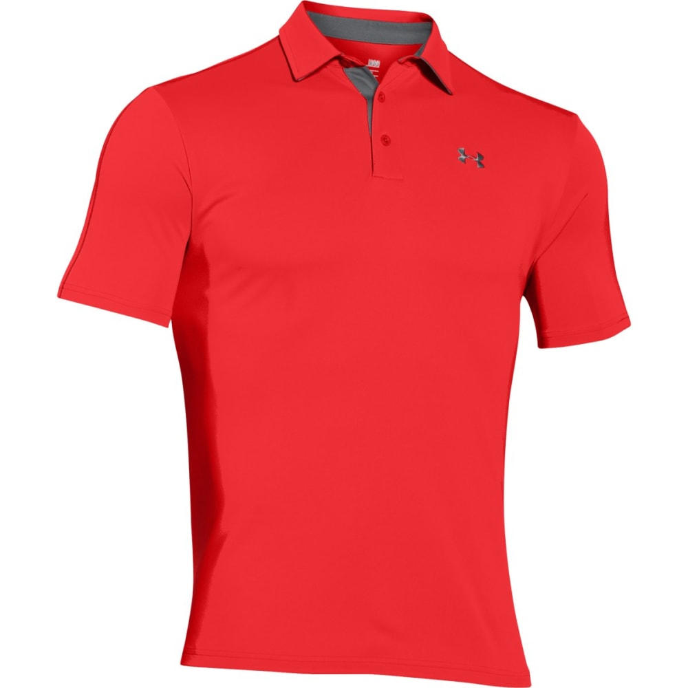UNDER ARMOUR Men's Leaderboard Polo Shirt - RED/GRAPHITE-984