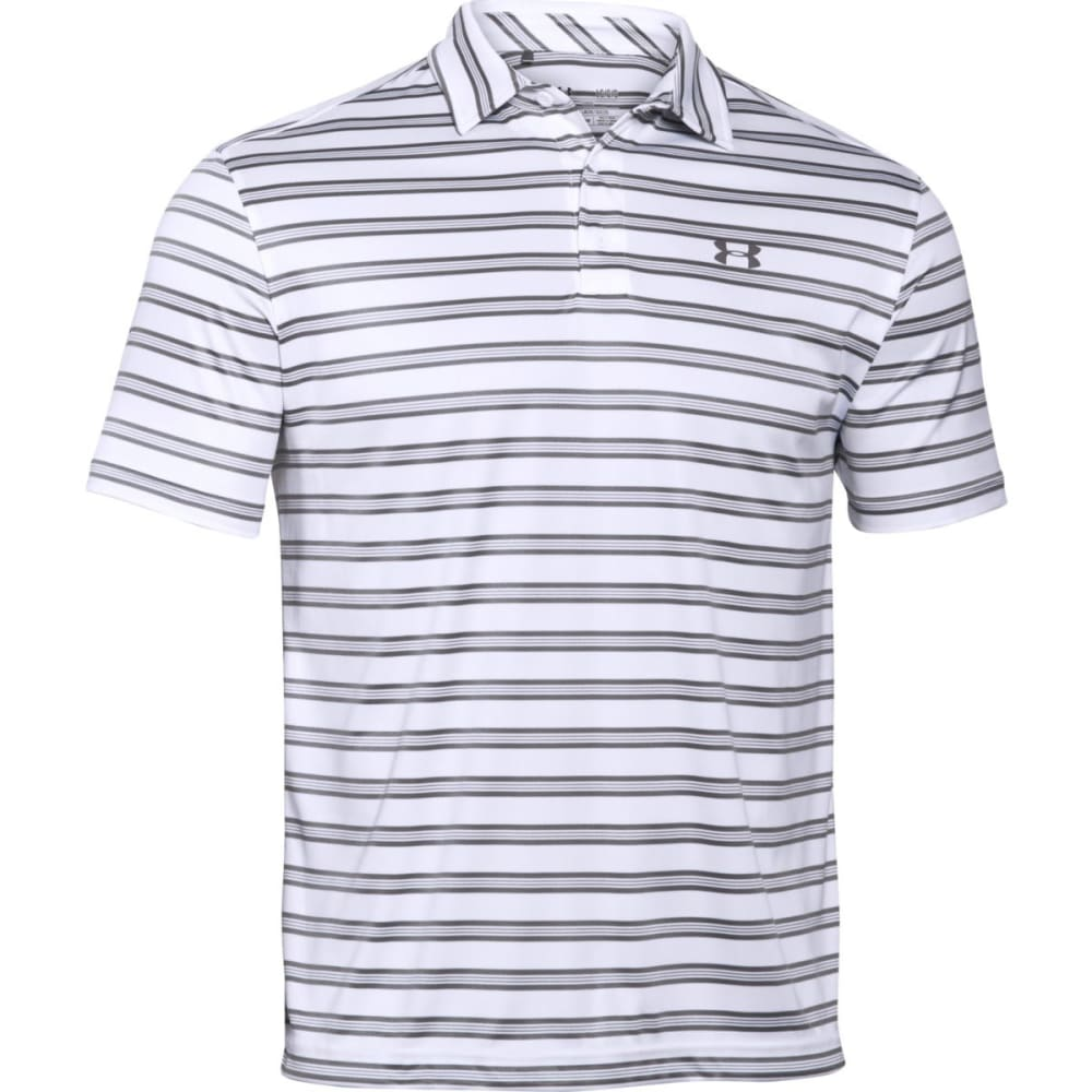 UNDER ARMOUR Men's Tech Striped Polo Shirt - WHITE/GRAPHITE-100