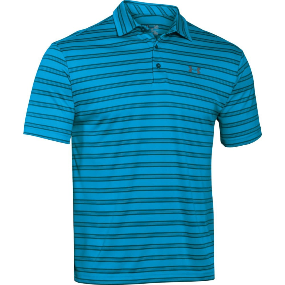 UNDER ARMOUR Men's Tech Striped Polo Shirt - MERIDIAN BLUE-987