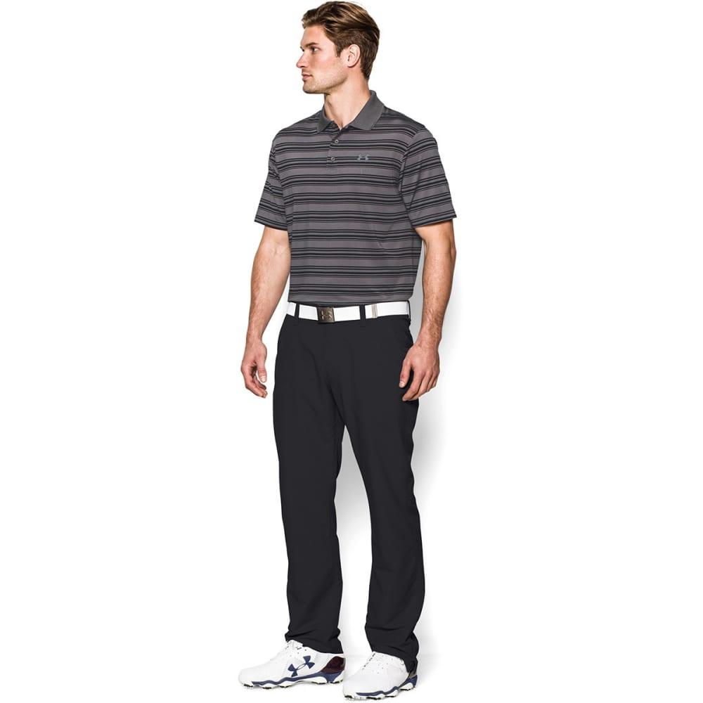 UNDER ARMOUR Men's Clubhouse Stripe Polo - GRAPHITE/BLACK
