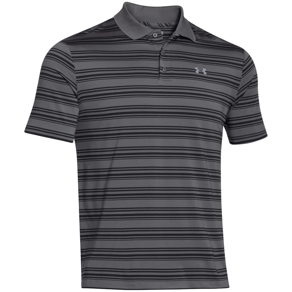 UNDER ARMOUR Men's Clubhouse Stripe Polo - GRAPHITE/BLACK