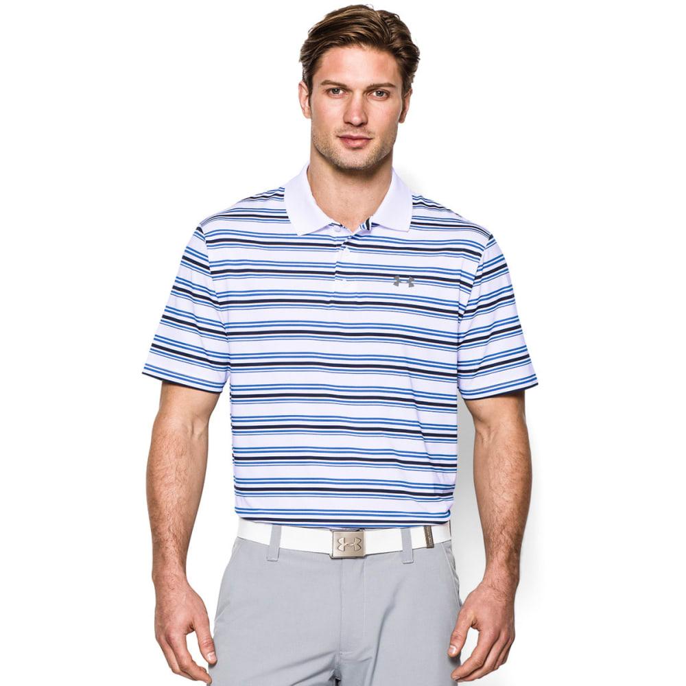UNDER ARMOUR Men's Clubhouse Stripe Polo - WHITE/BLUE