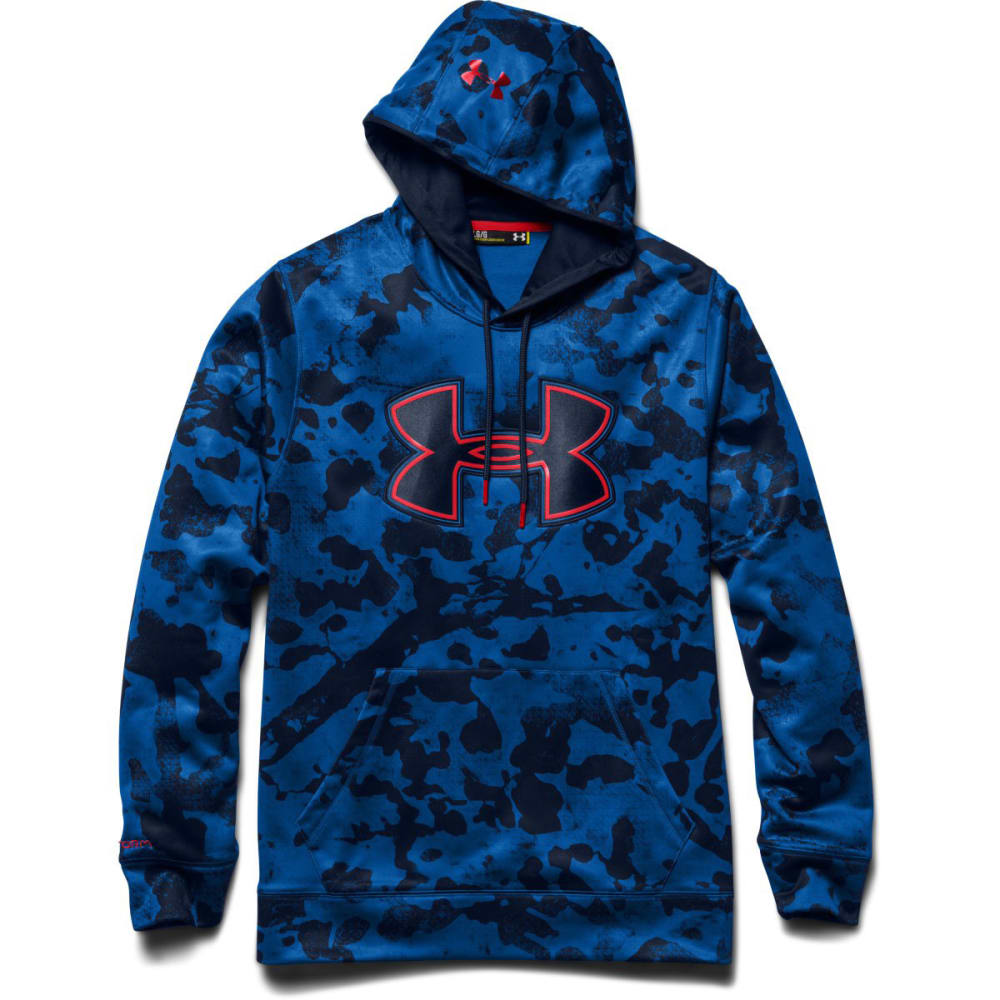 UNDER ARMOUR Men's Storm Armour® Fleece Printed Big Logo Hoodie - SCATTER BLUE/RED