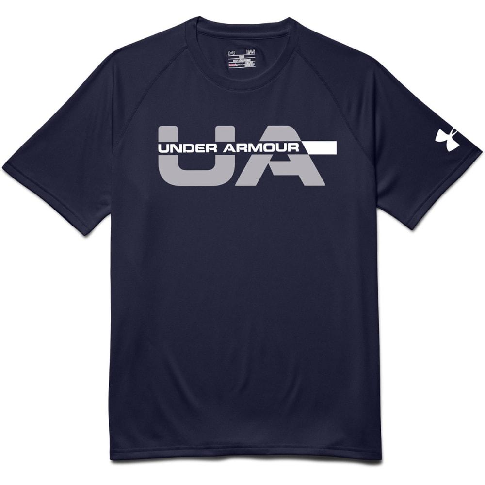 UNDER ARMOUR Men's Wordmark Strikethrough T-Shirt - NAVY