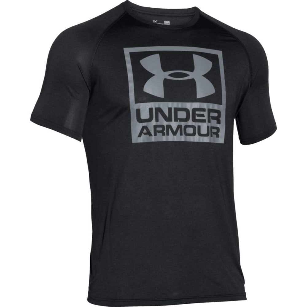UNDER ARMOUR Men's UA Tech™ Boxed Logo T-Shirt - BLACK/STEEL-001