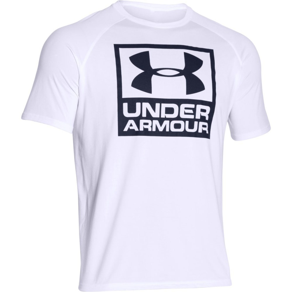 UNDER ARMOUR Men's UA Tech™ Boxed Logo T-Shirt - WHITE/MIDNIGHT-100