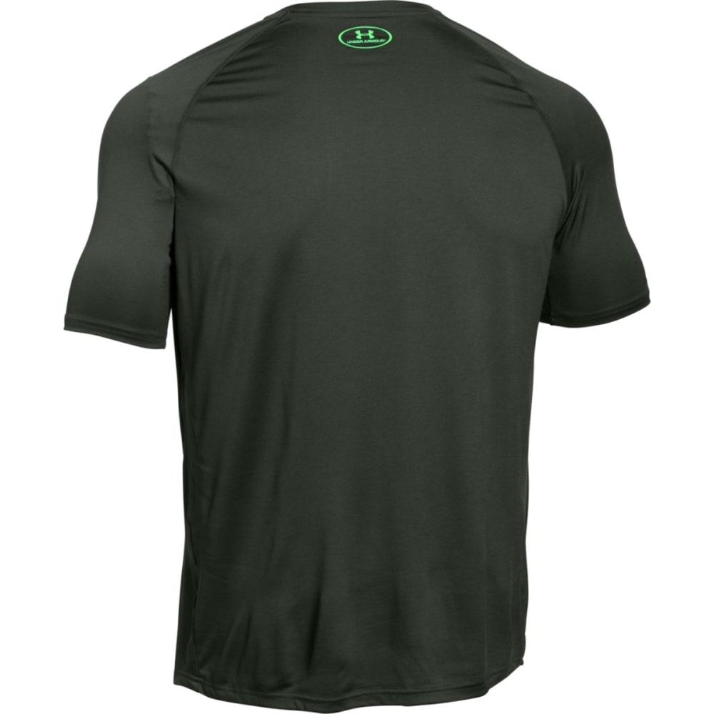 UNDER ARMOUR Men's Short-Sleeve Wordmark Tech Tee - COMBAT GREEN-994