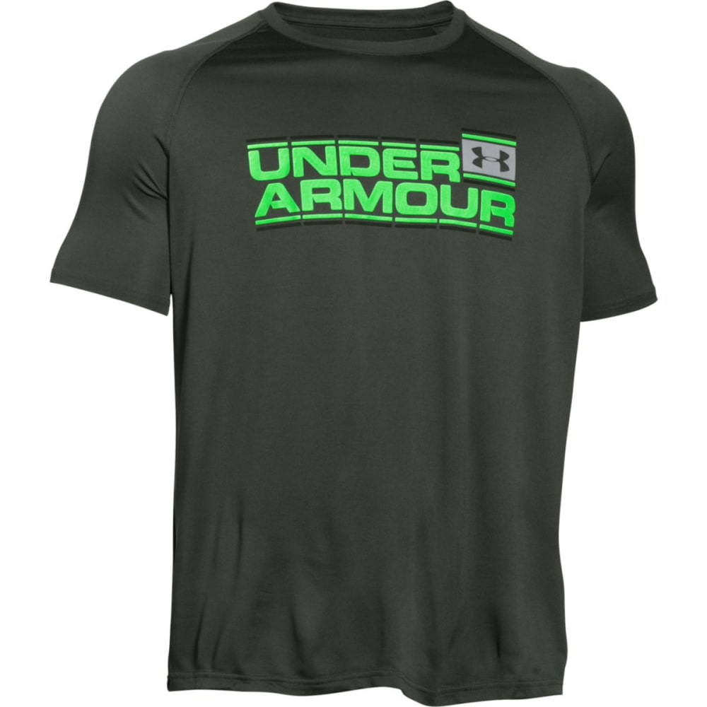 UNDER ARMOUR Men's Short-Sleeve Wordmark Tech Tee - COMBAT GREEN-994