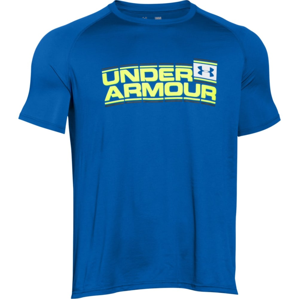 UNDER ARMOUR Men's Short-Sleeve Wordmark Tech Tee - ULTRA BLUE-907