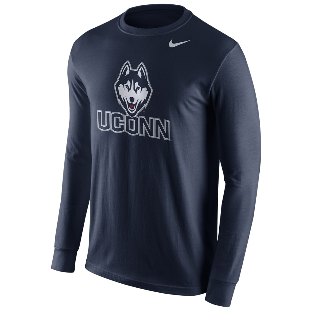 UCONN HUSKIES Men's Logo Long-Sleeve Tee - NAVY