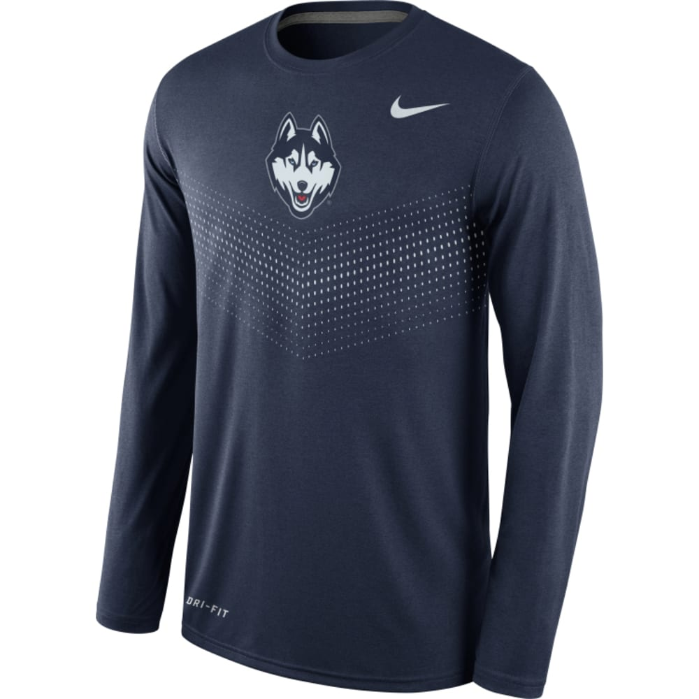 UCONN Men's Nike Dri-Fit Long Sleeve Sideline T-Shirt - NAVY