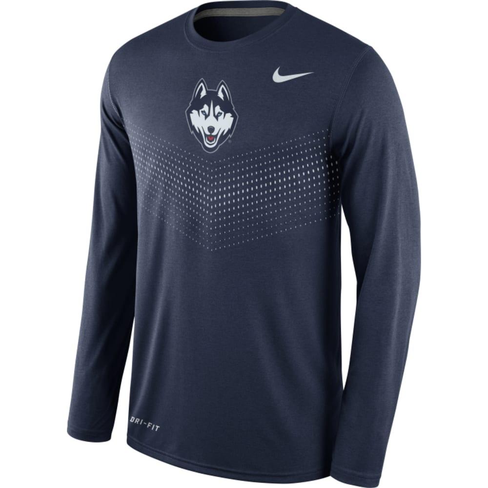 UCONN Men's Nike Dri-Fit Long Sleeve Sideline T-Shirt - NAVY