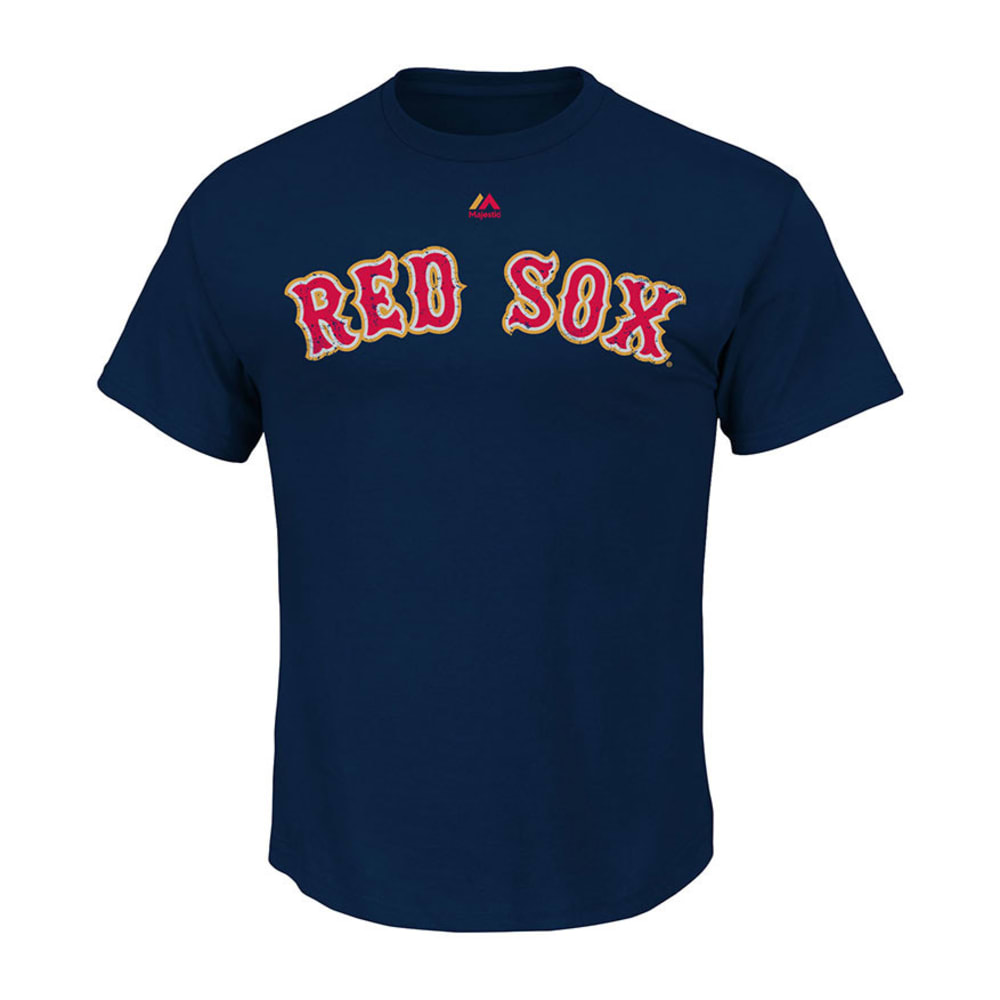 BOSTON RED SOX Men's Distressed Gold Wordmark Tee  - NAVY