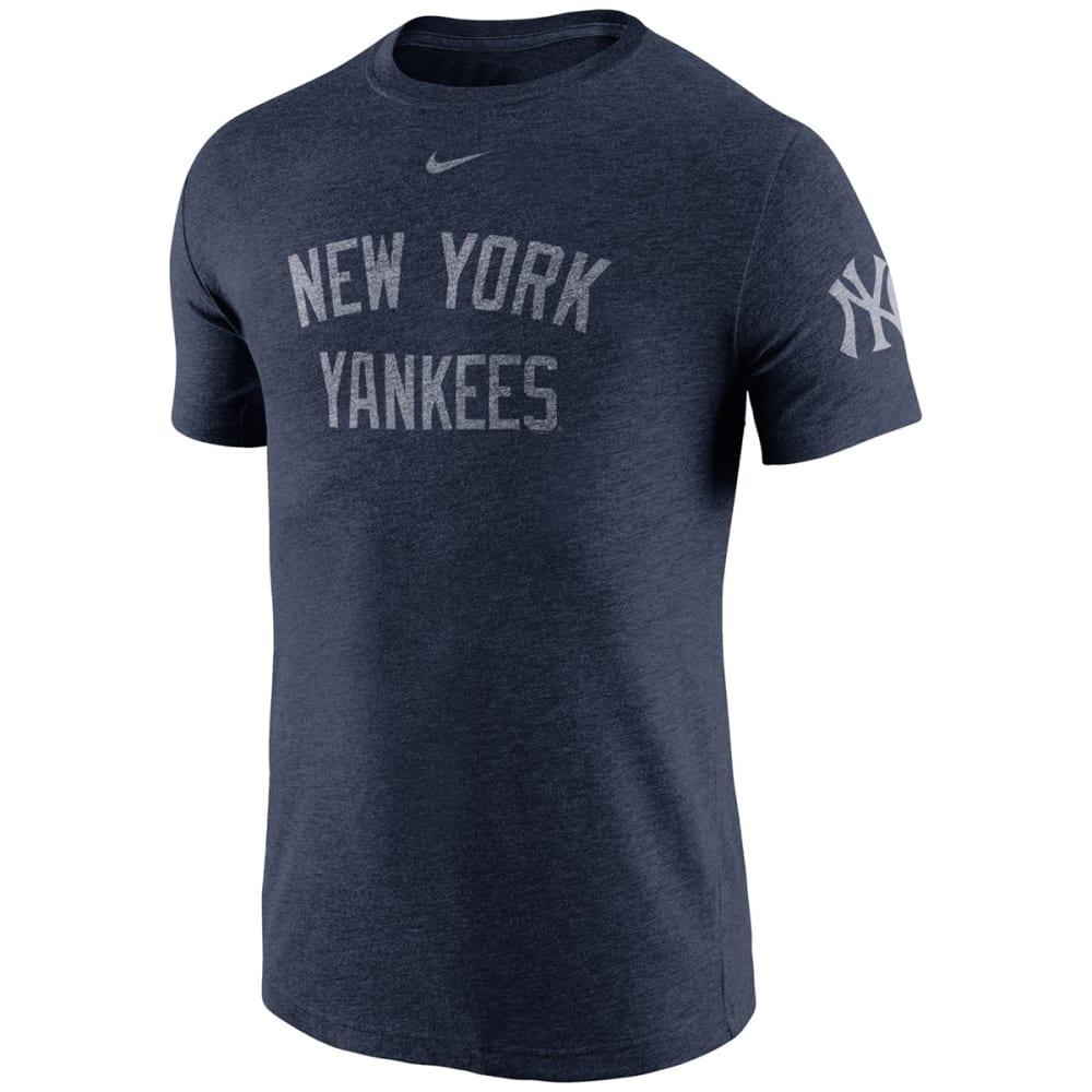 NIKE Men's New York Yankees Tri-Blend DNA Sleeve Logo Short-Sleeve Tee - NAVY YN5