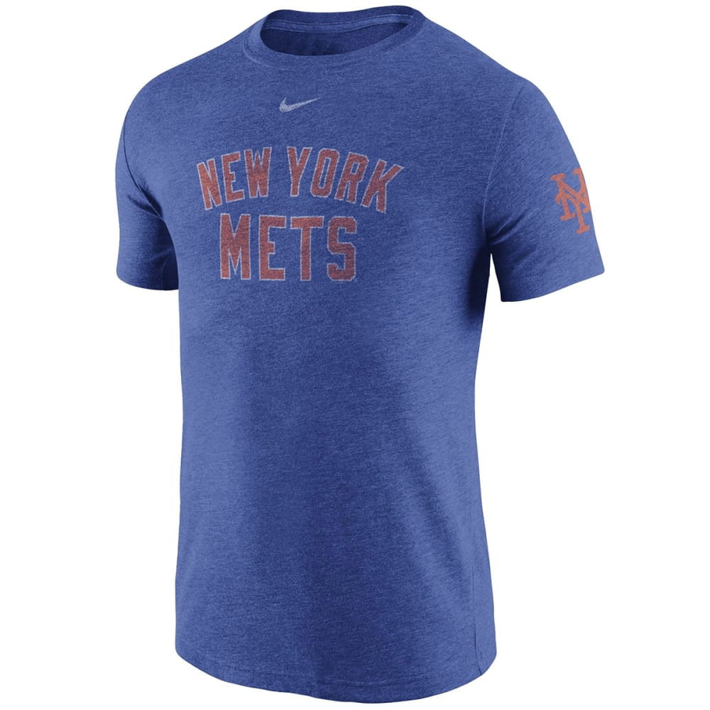 NIKE Men's New York Mets Tri-Blend DNA Sleeve Logo Short-Sleeve Tee S