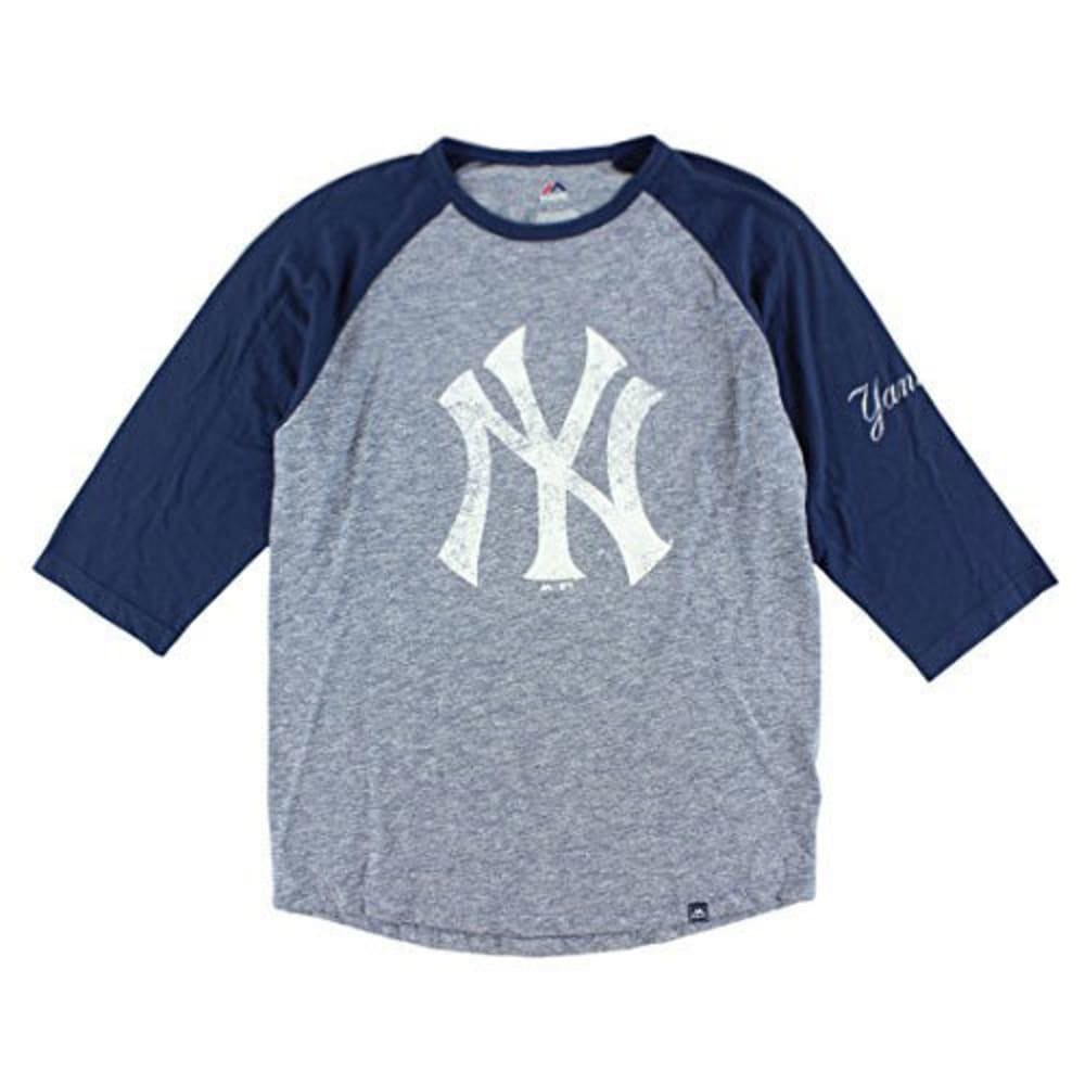 NEW YORK YANKEES Men's Power Hit ¾ Raglan Sleeve Tee - NINE IRON