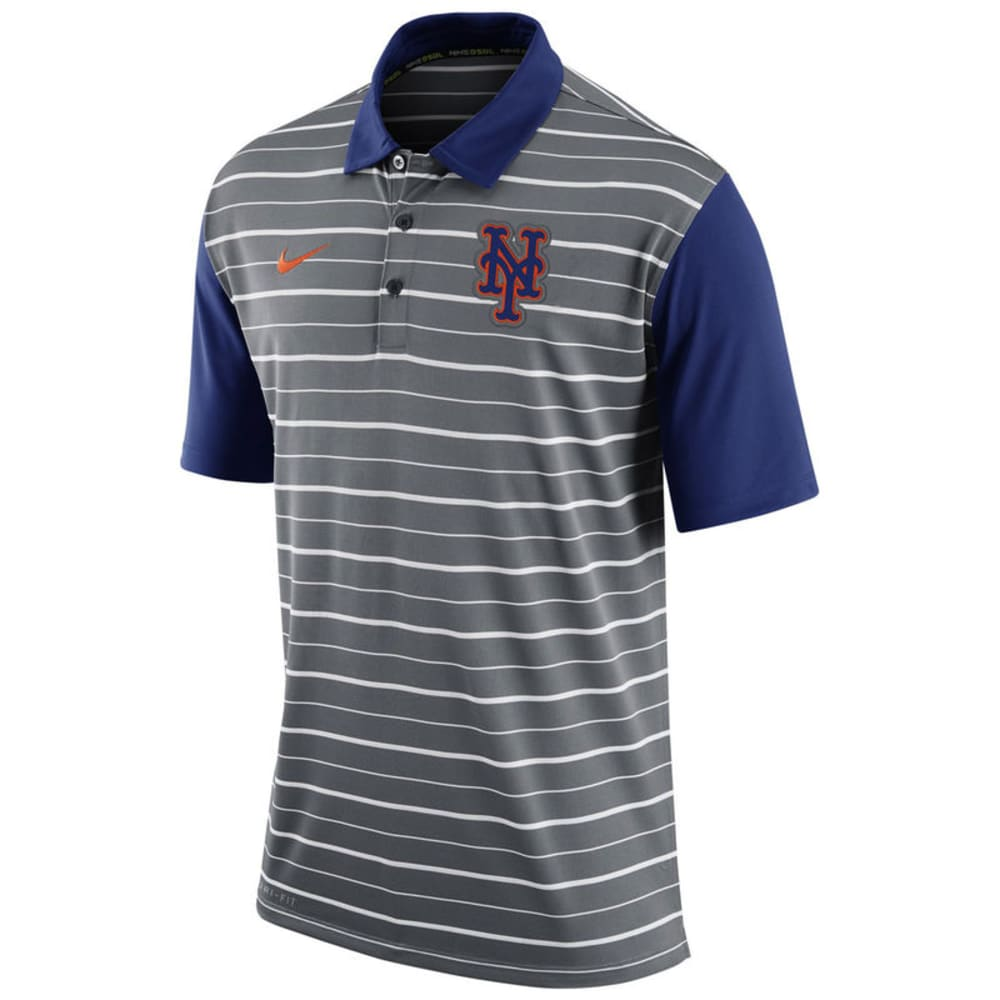 NEW YORK METS Men's Dri-Fit Striped Polo - HEATHER CHARCOAL