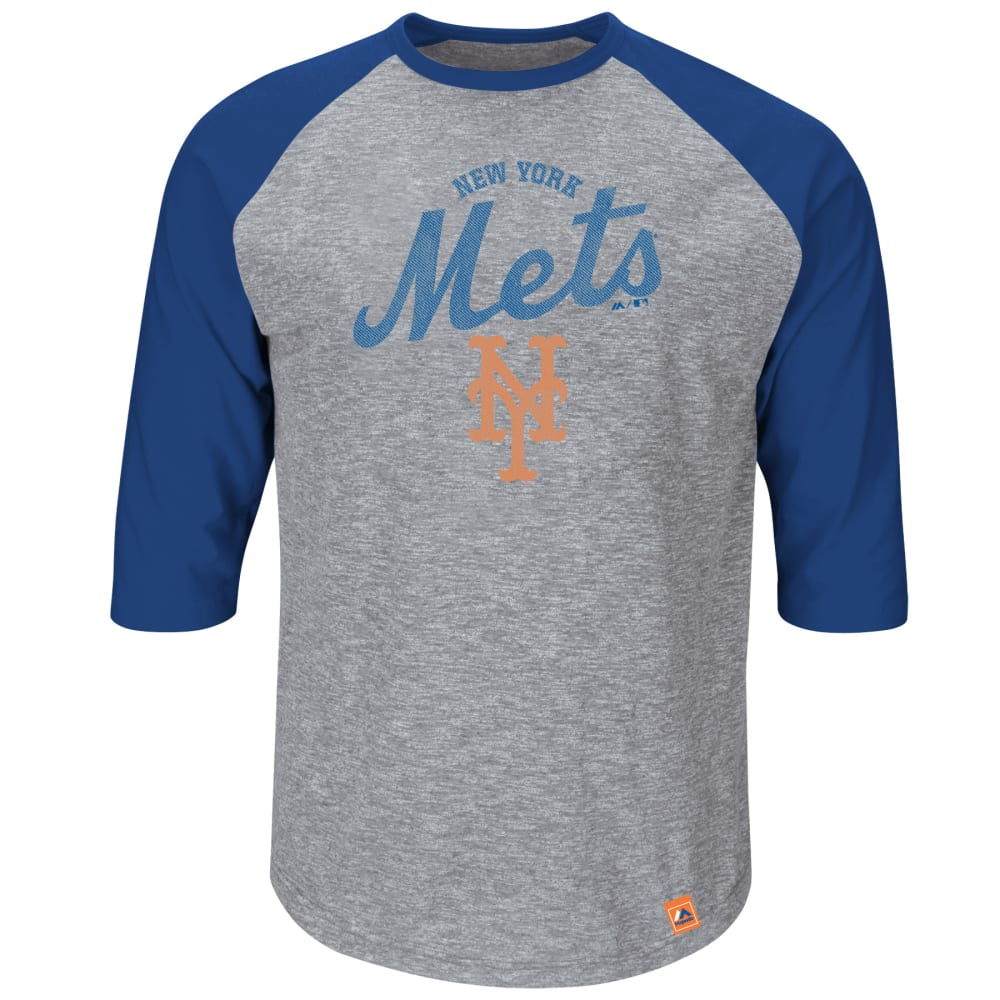 NEW YORK METS Men's Fast Win 3/4 Sleeve Tee - NAVY