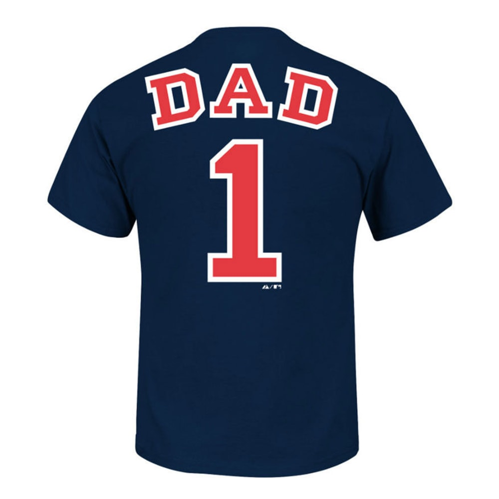MAJESTIC ATHLETIC Men's Boston Red Sox #1 Dad Name and Number Tee  - NAVY