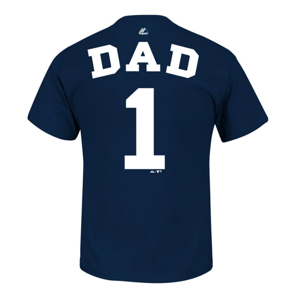 MAJESTIC ATHLETIC Men's New York Yankees #1 Dad Name and Number Tee  - NAVY