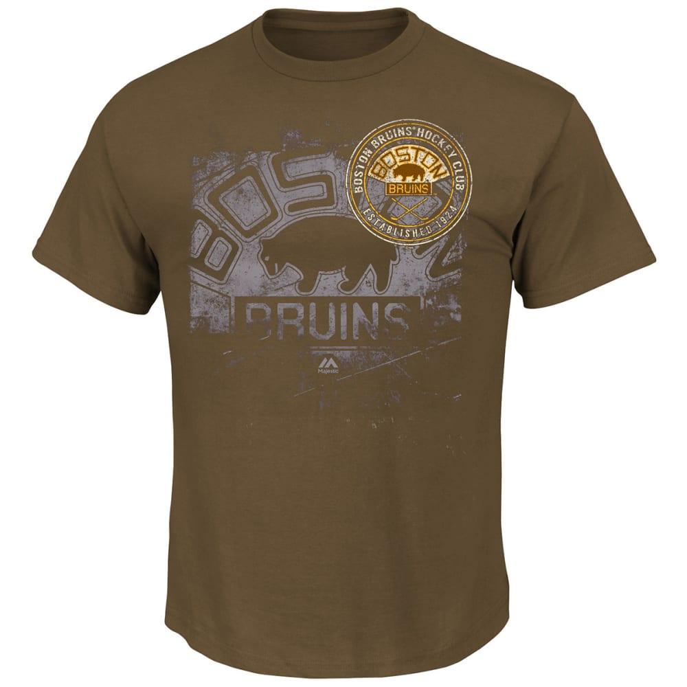 BOSTON BRUINS Men's Vintage Inspired Performance Short Sleeve Tee Shirt - BROWN