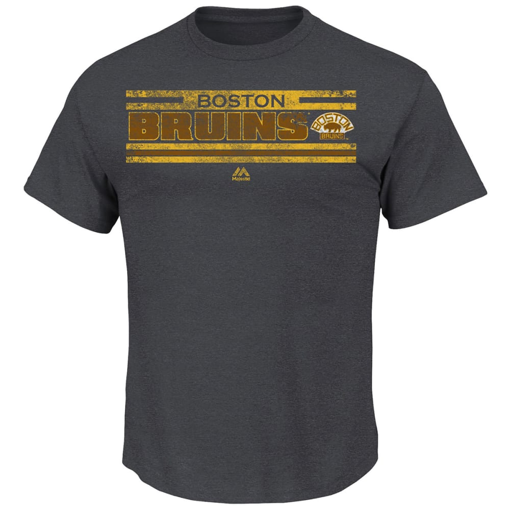 BOSTON BRUINS Men's Vintage All Hustle Logo History T-Shirt - CHARCOAL