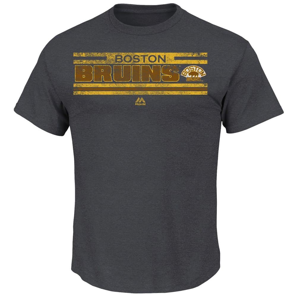 BOSTON BRUINS Men's Vintage All Hustle Logo History T-Shirt - CHARCOAL