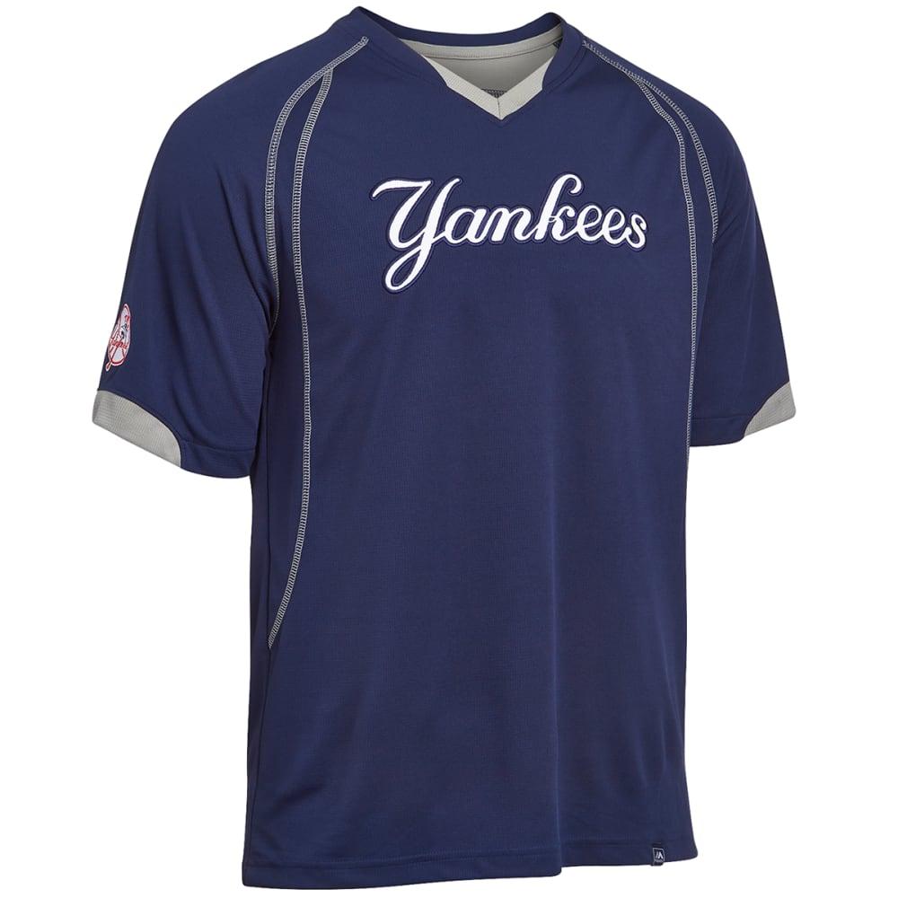 NEW YORK YANKEES Men's Lead Hitter V-Neck - CARBON HEATHER/VENEE