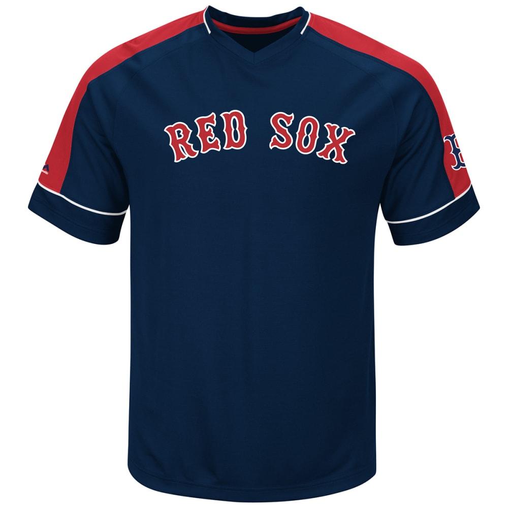 BOSTON RED SOX Men's Lead Hitter V-Neck Tee - NAVY